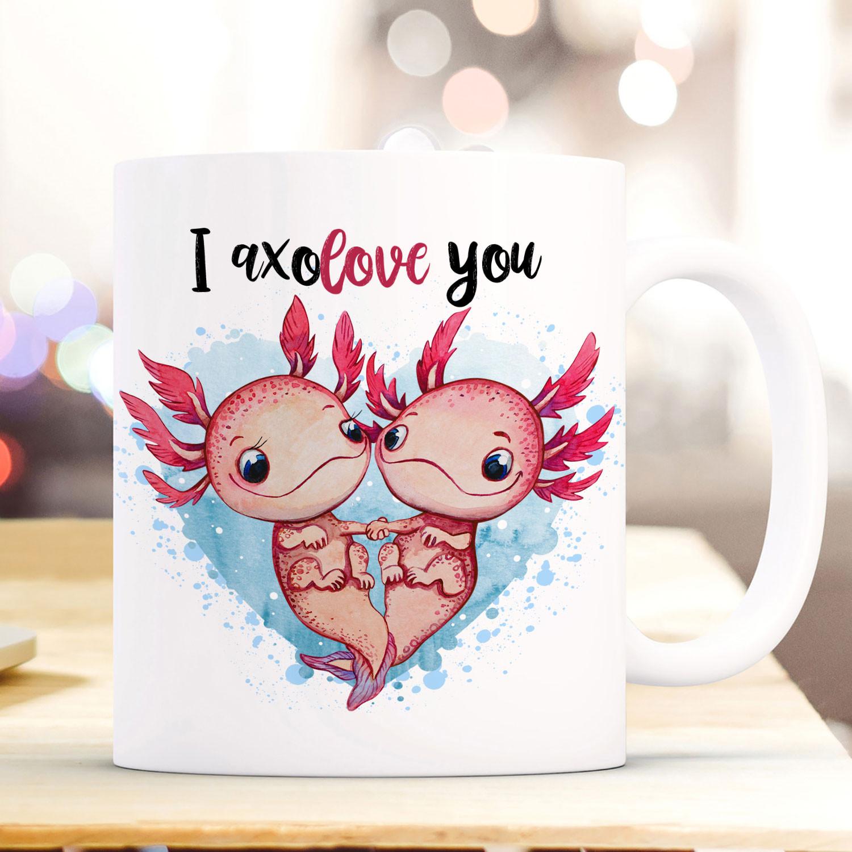 Büro & Schreibwaren Kindergeschirr & -besteck Tasse Becher Axolotl Pärchen Spruch I Axolove You Kaffeebecher Geschenk Ts944