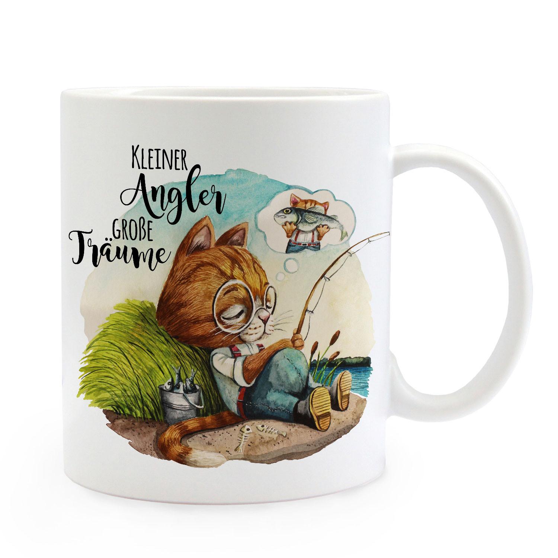 Tasse Becher Katze Kater Kleiner Angler Träumen Kaffeetasse Geschenk Ts961 Tassen