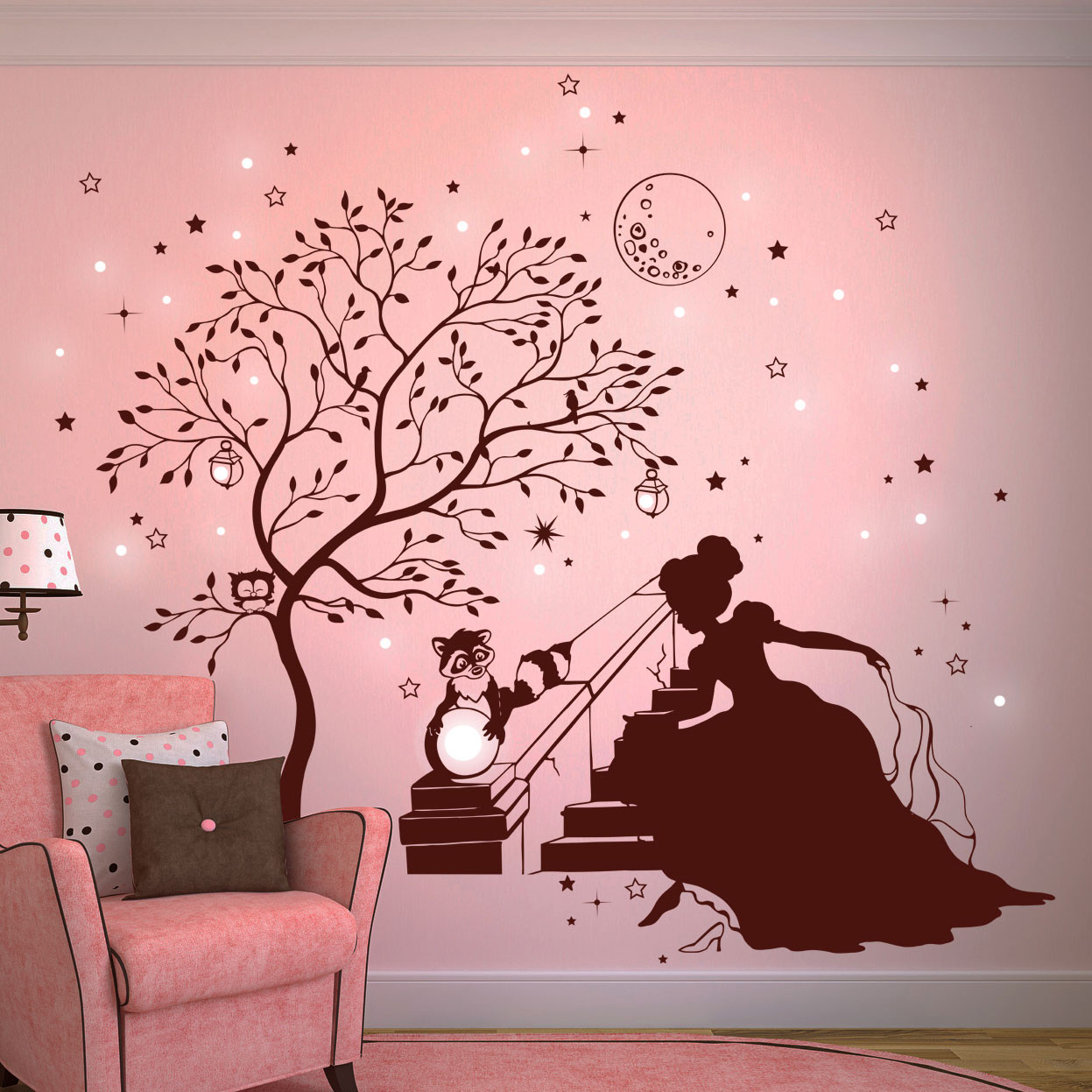 wandtattoo prinzessin cinderella mit zauberbaum waschb r hase und fluoreszierende sterne m1716. Black Bedroom Furniture Sets. Home Design Ideas