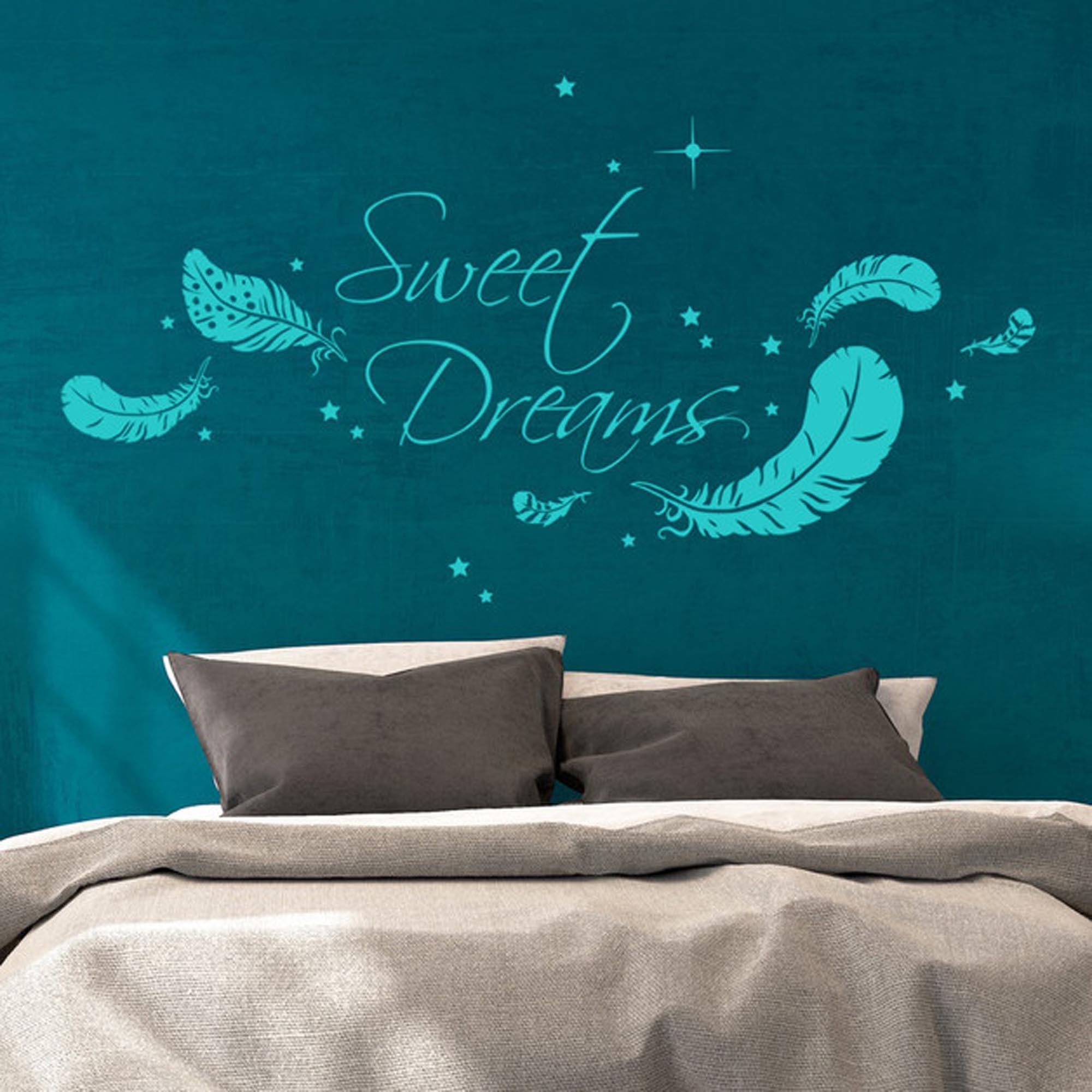 wandtattoo sweet dreams mit federn und sternen m1759. Black Bedroom Furniture Sets. Home Design Ideas