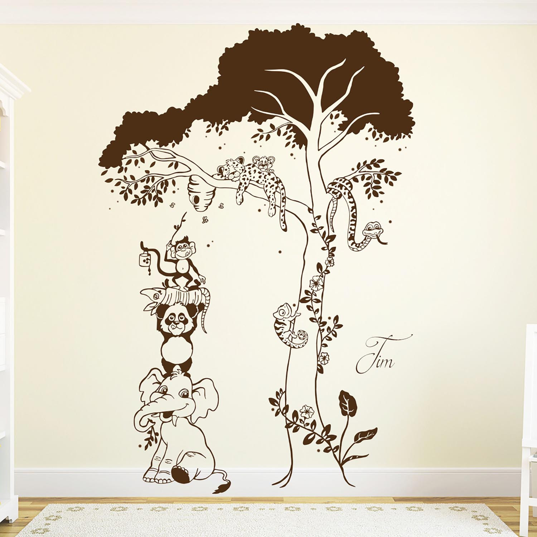 wandtattoo tiere dschungel baum leopard affe schlange. Black Bedroom Furniture Sets. Home Design Ideas