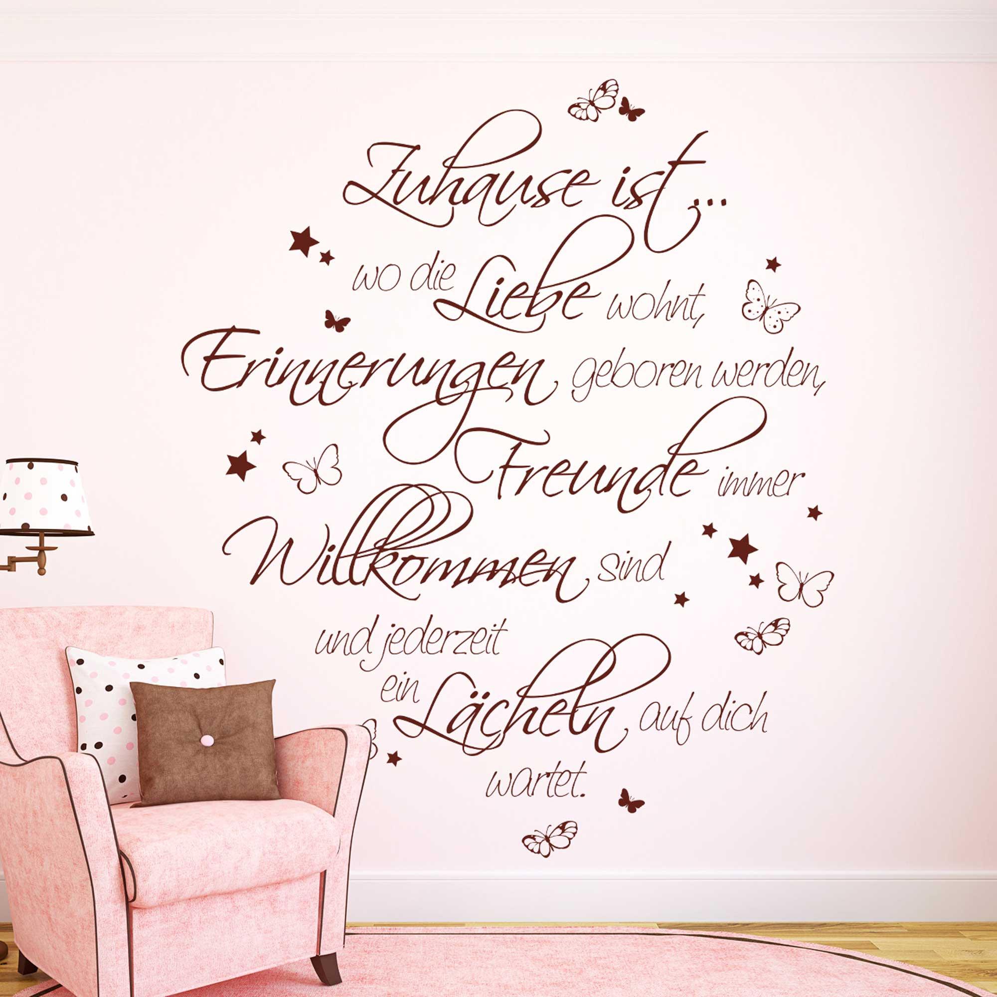 wandtattoo spruch zitat zuhause ist liebe erinnerungen familie mit sternen und. Black Bedroom Furniture Sets. Home Design Ideas