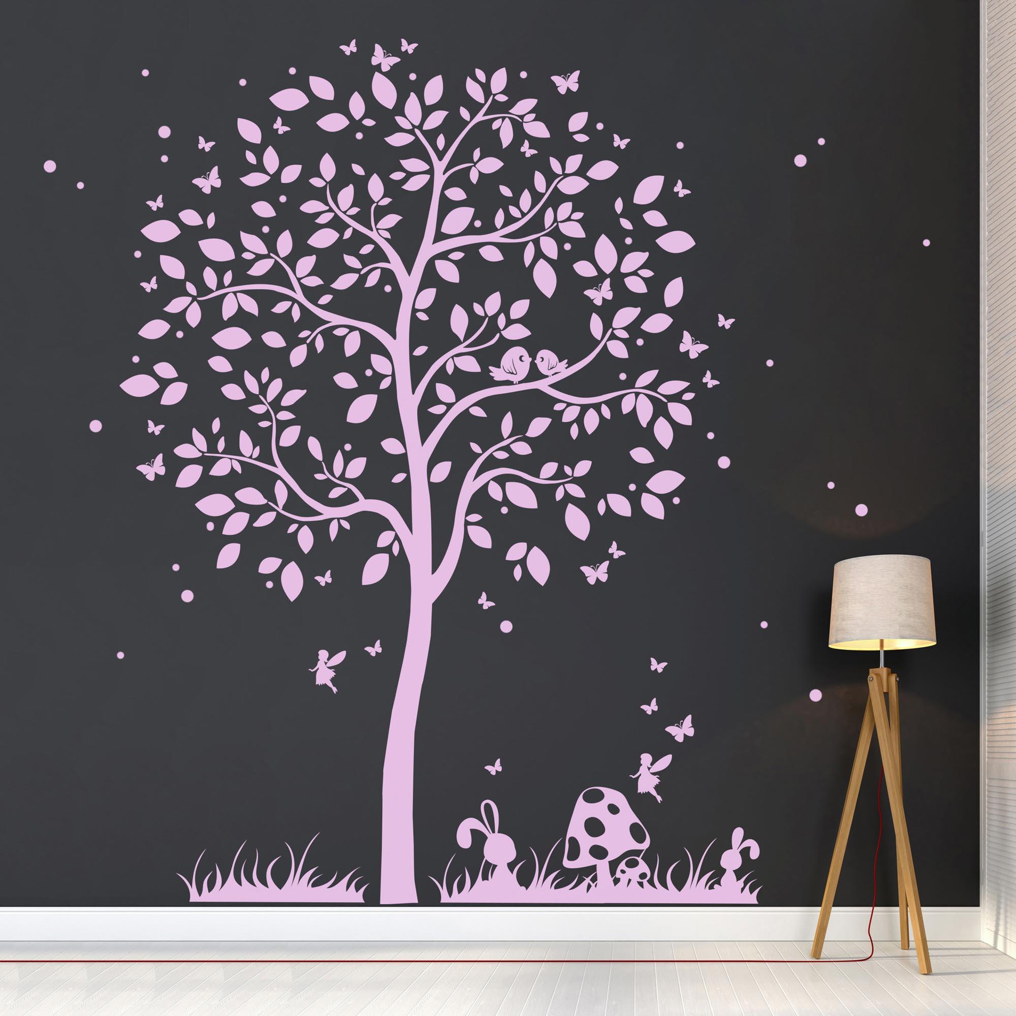 Wandtattoo Baum Mit Vogelchen Hasen Elfe Und Schmetterlinge M1933 Wandtattoos Elfentur Tassen
