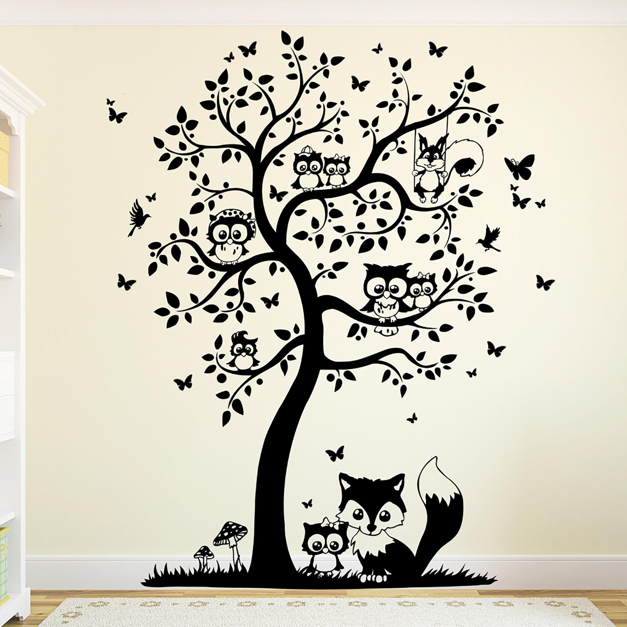 wandtattoo baum mit eulen eulenbaum eule m1542 wandtattoos elfent r tassen. Black Bedroom Furniture Sets. Home Design Ideas