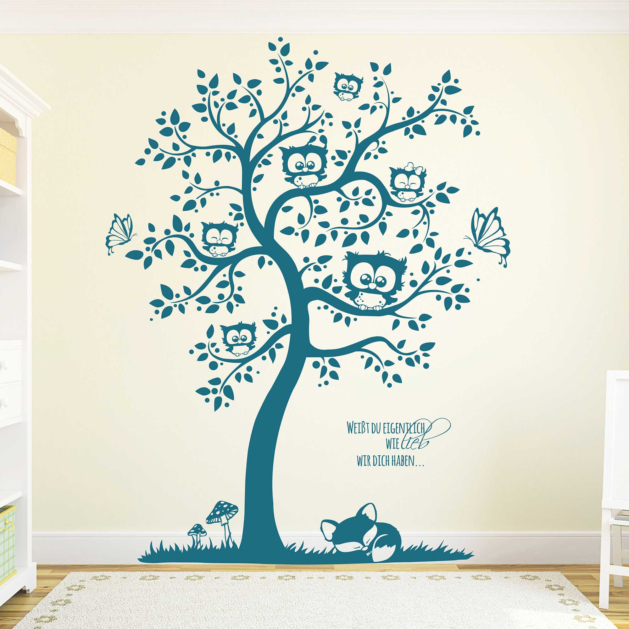 Wandtattoo eulenbaum eulen mit wunschnamen schmetterlinge - Wandtattoo eulenbaum ...