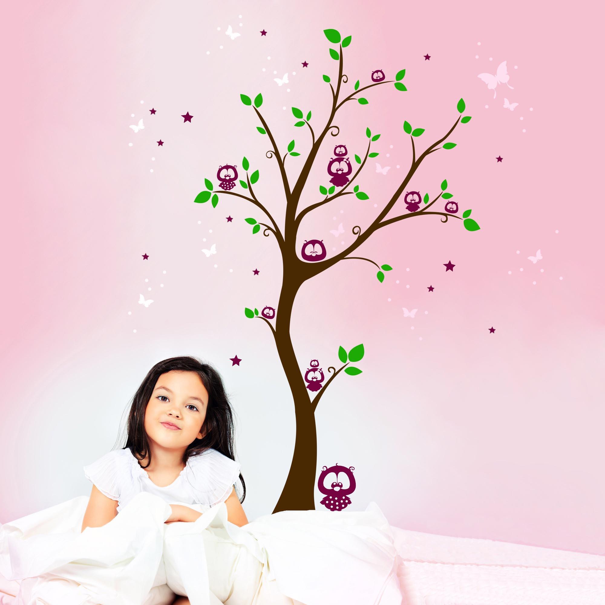 Wandtattoo eulenbaum eulen auf baum mit sternen punkten - Wandtattoo eulenbaum ...