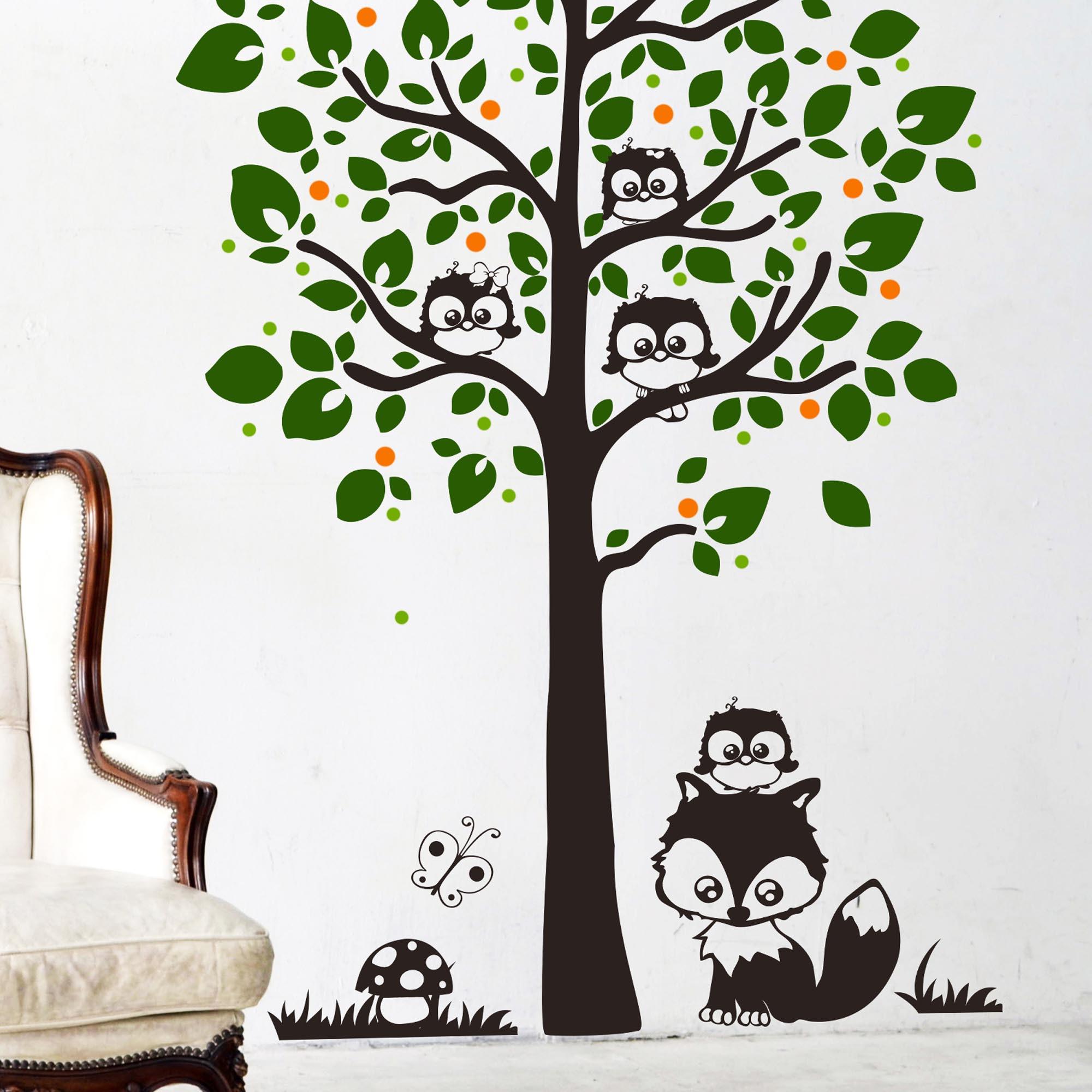 Wandtattoo eulenbaum mit fuchs punkten und pilz vierfarbig - Wandtattoo eulenbaum ...