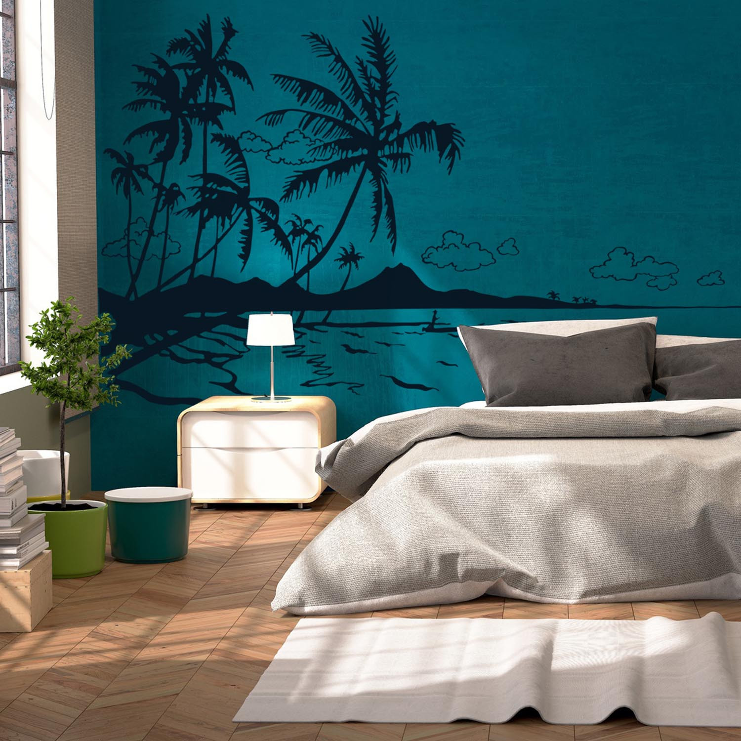 wandtattoo karibik s dsee palmen meer strand m1887. Black Bedroom Furniture Sets. Home Design Ideas