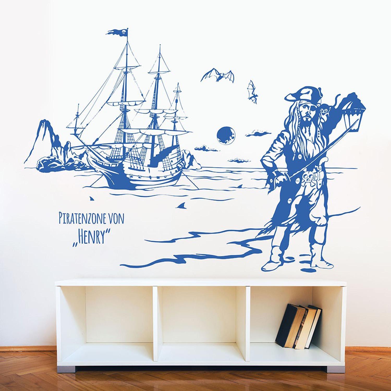 wandtattoo pirateninsel piratenschiff pirat mit wunschname m1643 wandtattoos elfent r tassen. Black Bedroom Furniture Sets. Home Design Ideas