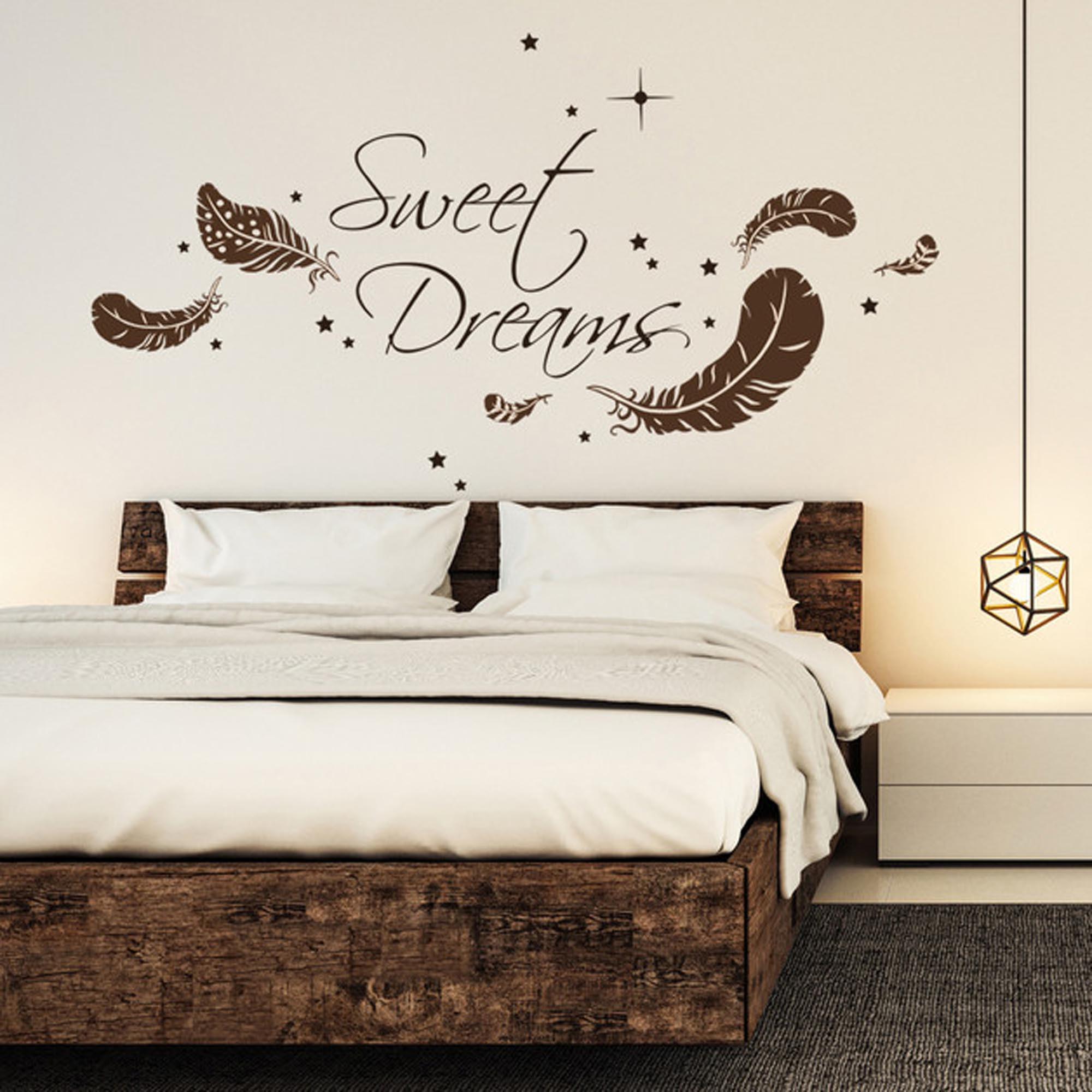 wandtattoo sweet dreams mit federn und sternen m1759 wandtattoos elfent r tassen. Black Bedroom Furniture Sets. Home Design Ideas