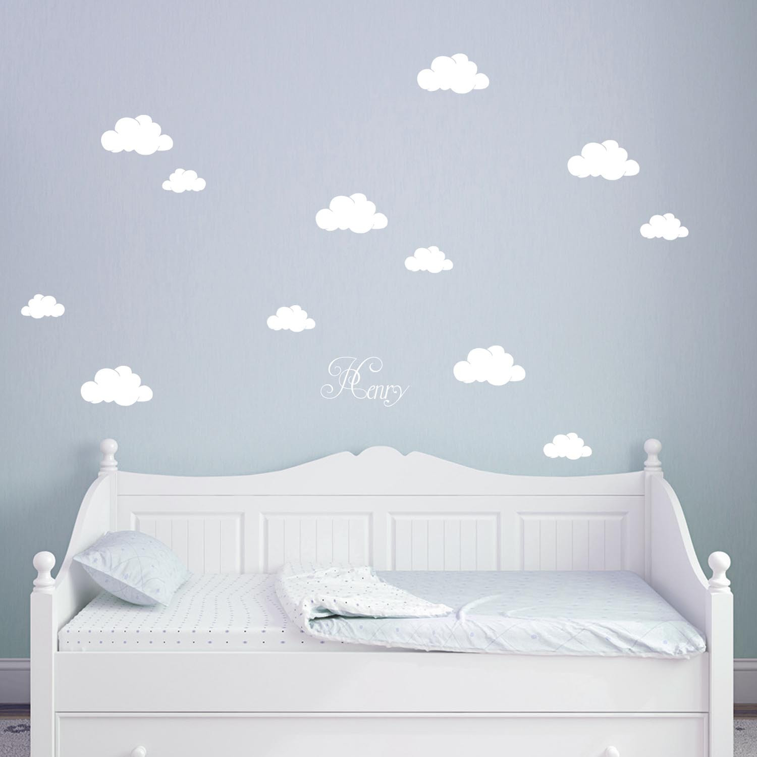 wandtattoo wolken himmel w lkchen mit namen m1682. Black Bedroom Furniture Sets. Home Design Ideas