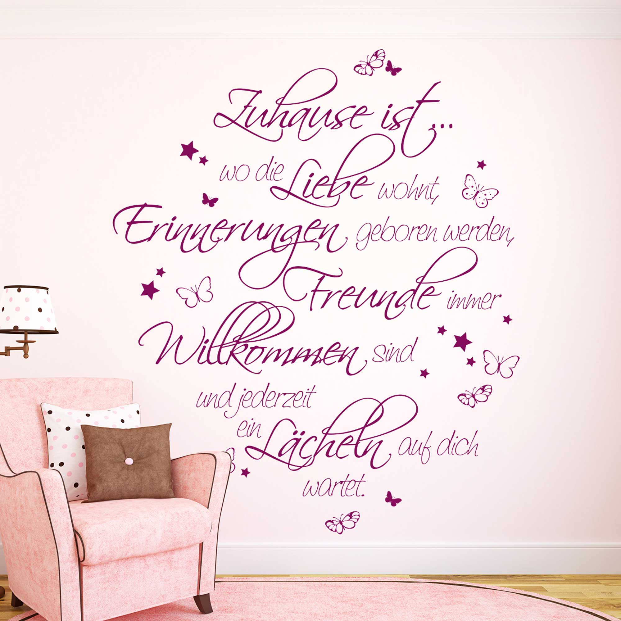 wandtattoo spruch zitat zuhause ist liebe erinnerungen. Black Bedroom Furniture Sets. Home Design Ideas