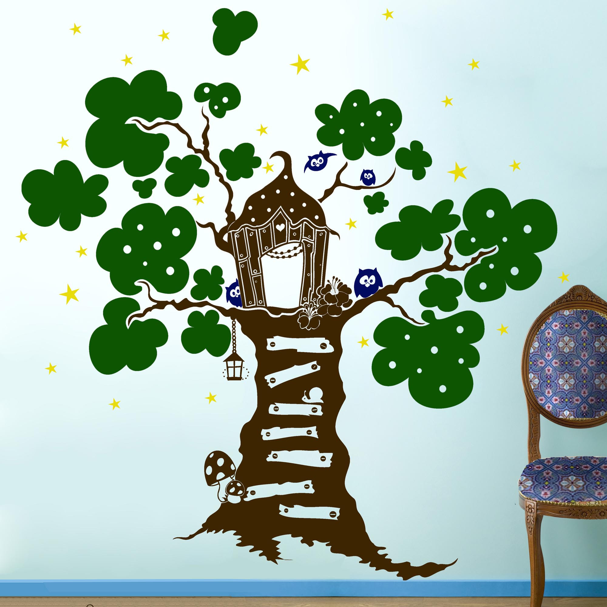 Wandtattoo wandaufkleber eulen eule baum sterne m670 - Wandtattoo eulenbaum ...