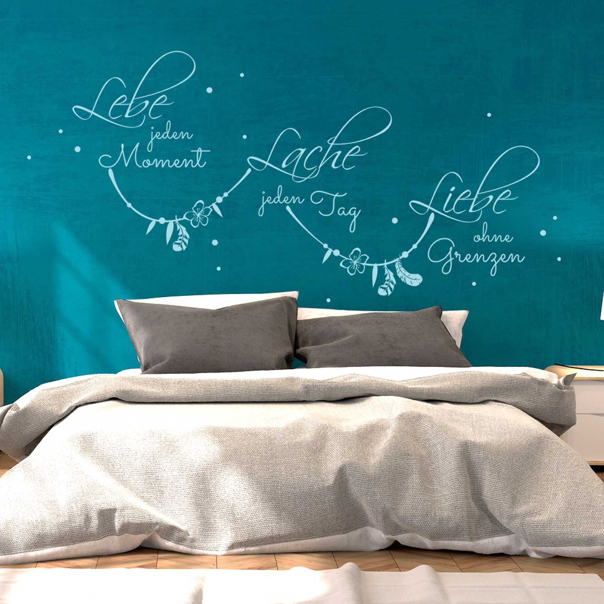 wandtattoo zitat spruch lebe jeden moment mit punkten m1973 wandtattoos elfent r tassen. Black Bedroom Furniture Sets. Home Design Ideas