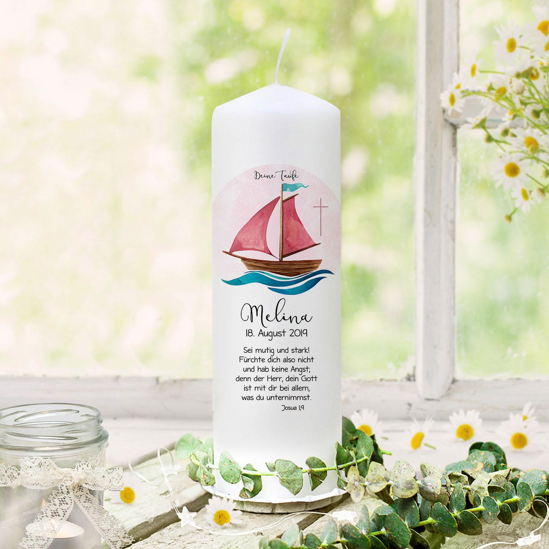 Taufkerze Kerze Zur Taufe Segelboot Schiff Rosa Kreuz