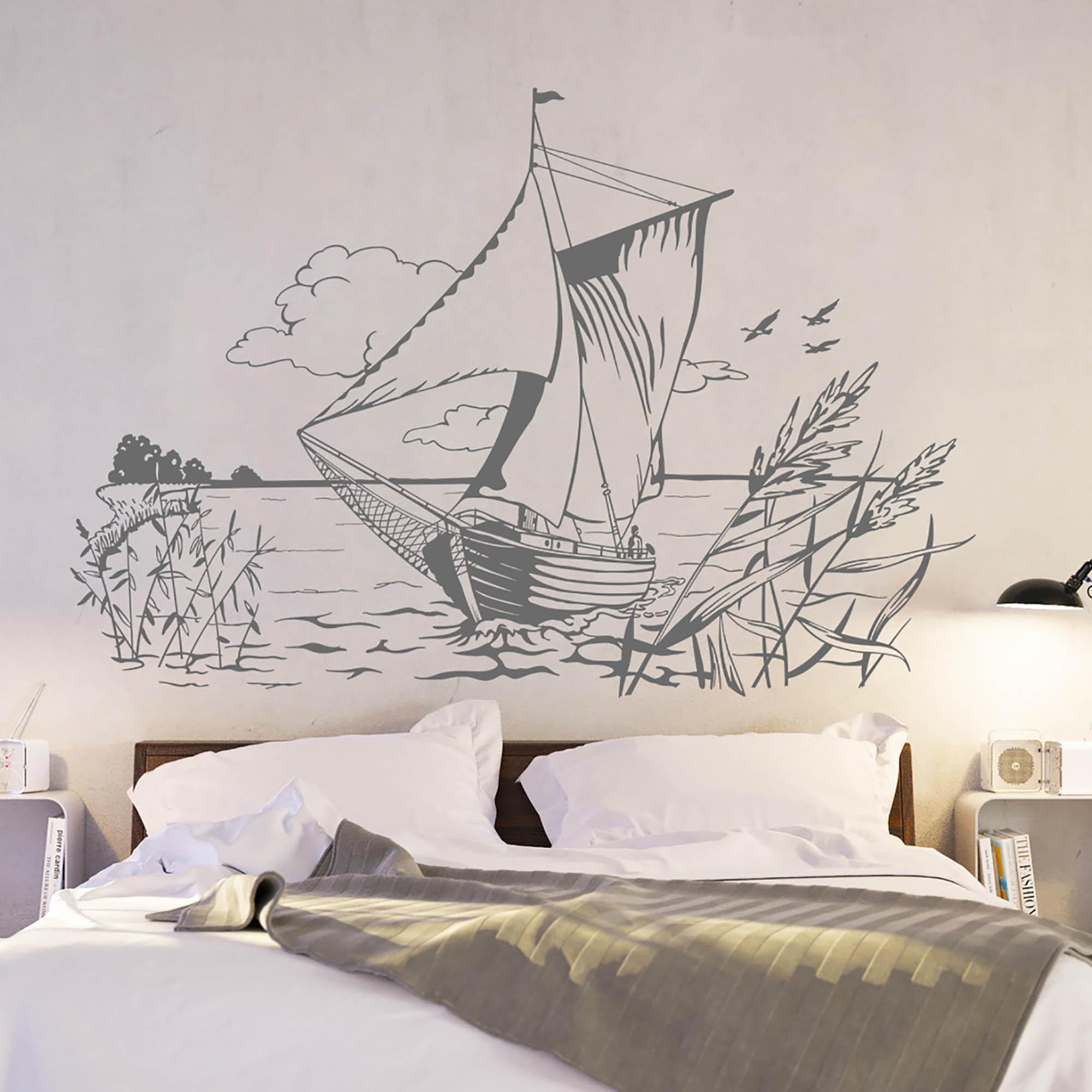 wandtattoo zeese zeesenboot schiff segler k ste meer schilf m1451 wandtattoos elfent r tassen. Black Bedroom Furniture Sets. Home Design Ideas