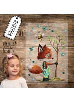 Bügelbilder Fuchs pflanzt Baum mit Biene Set in A5 Applikation Kissen Shirt Taschen Bügelbild Bügelmotiv Patch Aufbügelbilder bb216