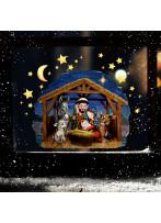 Fensterbild Weihnachtsdeko Weihnachten Maria & Josef Weihnachtskrippe wiederverwendbar Fensterdeko Winter Fensterbilder Kinder Zimmer bf153
