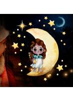 Fensterbild Weihnachtsdeko Weihnachten Engel Engelchen auf Mond wiederverwendbar Fensterdeko Winter Fensterbilder Kinder Zimmer bf155