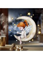 Fensterbild Weihnachtsdeko Weihnachten Engel Engelchen auf Mond sitzend wiederverwendbar Fensterdeko Winter Fensterbilder Kinder Zimmer bf156