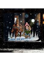 Fensterbild Weihnachtsdeko Weihnachten Mädchen mit Pferdeschlitten wiederverwendbar Fensterdeko Winter Fensterbilder Kinder Zimmer bf160