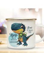 Emaille Becher Einschulung Camping Tasse Dino T-Rex Schultüte Schulkind & Name Datum Kaffeetasse Geschenk Schulanfang eb536