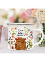 Emaille Becher Camping Tasse Bär Bärchen Blumen & Spruch Mama du bist unentbärlich Kaffeetasse Geschenk Muttertag eb590