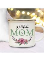 Emaille Becher Camping Tasse Blumen Blümchen Rose Spruch Weltbeste Mom Name Wunschname Kaffeetasse Geschenk Muttertag eb594
