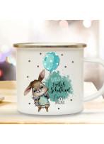 Emaille Becher Einschulung Camping Tasse Hasen Junge Ballon Spruch Hurra endlich Schulkind & Name Datum Kaffeetasse Geschenk eb599