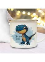 Emaille Becher Campingbecher Einschulung Tasse Dino Dinosaurier T-Rex & Name Wunschname Kaffeetasse Geschenk eb602