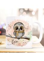 Tasse Becher Eule Eulchen auf Ast rosa Hintergrund mit Wunschname Name individuell Kaffeebecher Kaffeetasse Geschenk ts1166