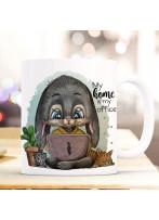 Tasse Kaffeetasse Becher Hase Häschen mit Laptop & Spruch My home is my office Bürotasse Kaffeebecher Teetasse Geschenk ts1196
