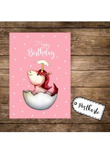 A6 Postkarte Grußkarte Karte Print Illustration geschlüpftes Baby Einhorn mit Spruch Happy Birthday pk85