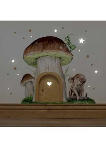 Elfentür mit Wandtattoo Pilzhaus Steinpilz mit Schweinchen Punkten und Sternen e09