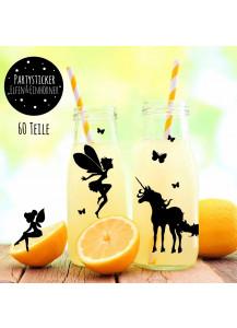 Aufkleber Sticker Glassticker Partyaufkleber Elfen Feen und Einhörner mit Schmetterlingen M2011