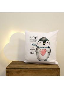 Kissen Pinguin mit Herz und Spruch Weil Engel nicht überall sein können... gibt es Menschen wie dich inklusive Füllung ks31
