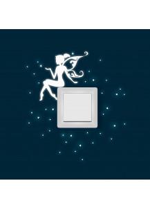 Lichtschalteraufkleber Leuchtsticker Elfe Fee mit Sterne und Punkten fluoreszierend M1161
