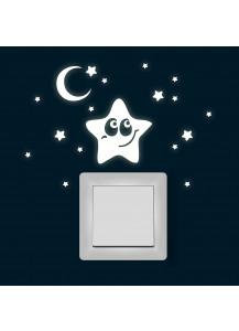 Sternenhimmel Sterne Mond fluoreszierend M1358