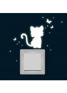 Leuchtsticker Lichtschalteraufkleber Wandtattoo Katze mit Schmetterlinge und Punkten Wandsticker Wandaufkleber fluoreszierend nachtleuchtend M1365