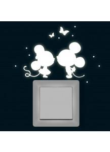 Lichtschaltertattoo Leuchtsticker Wandtattoo Maus Mäuse mit Schmetterlinge und Punkten fluoreszierend nachtleuchtend M1368
