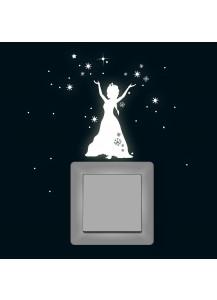 Schneekönigin Prinzessin Frozen Sterne Schneeflocken fluoreszierend M1648