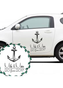 Autoaufkleber Autotattoo Hochzeit Maritim mit Anker Namen und Datum M2139