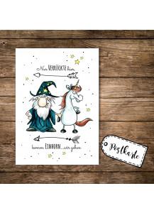 A6 Postkarte Magier Zauberer und Einhorn mit Spruch nur Verrückte hier, komm Einhorn wir gehen pk08