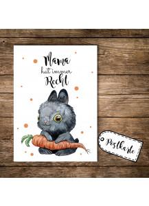 A6 Postkarte Print Muttertag Häschen mit Möhre und Spruch Mama hat immer recht pk105