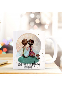 Tasse Becher Elfen Feen Feenpärchen mit Spruch love you to the moon and back ts381