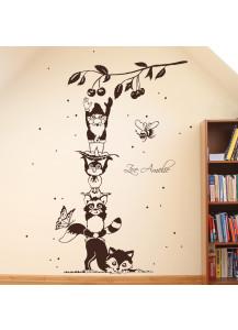 Wandtattoo Tiere beim Kirschen pflücken mit Fuchs Waschbär Schmetterling Vogel Biene und Zwerg mit Wunschname M1580
