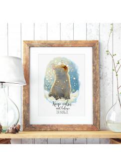 A3 Print Illustration Poster Plakat Katzenposter Katze im Winter mit Schnee Schneeflocken und Spruch Zitat keep calm and believe in magic p57