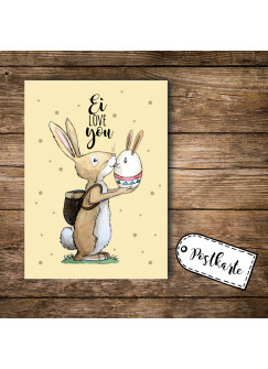 A6 Postkarte Osterkarte Print Hase Osterhase mit Spruch Ei love you pk100