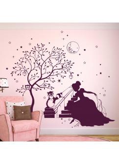 Wandtattoo Prinzessin Cinderella mit Zauberbaum Waschbär Hase und Sterne M1715