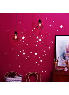 Wandtattoo Sterne fluoreszierend Leuchtsticker Set Leuchtsterne 85 Stück M2217